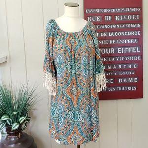 Umgee | M embroidered fringe bell sleeve boho